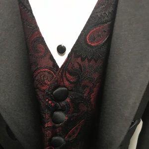 Boys Vintage Red & Black Paisley Tie and Vest Set